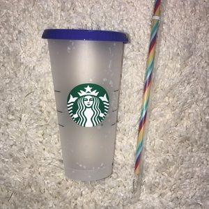 Venti Starbucks confetti Cup with rainbow straw